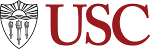 Red logo of USC with black and grey insignia